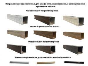 Направляющие однопосные для шкафа купе ламинированные, шпонированные, крашенные эмалью