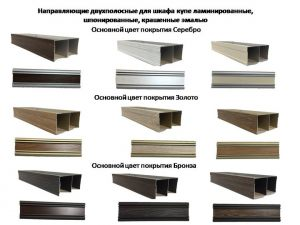 Направляющие двухполосные для шкафа купе ламинированные, шпонированные, крашенные эмалью